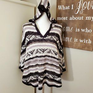 Charlotte Russe Striped Hooded Poncho NWT